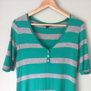 Felicity & Coco Green & Gray Striped T-Shirt Dress